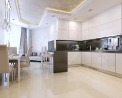 Kitchen luxury interior, modern, 3d picture